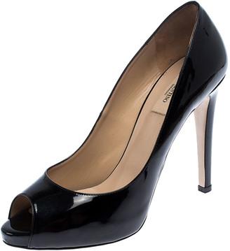 Valentino Black Patent Leather Peep Toe Platform Pumps Size 41