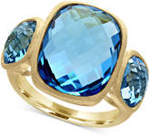 Effy Ocean Bleu Blue Topaz Three-Stone Ring (17-3/8 ct. t.w.) in 14k Gold