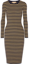 Michael Kors Metallic Striped Stretch-knit Dress - Gold