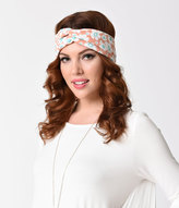 Retro Style Dusty Pink & White Floral Print Hair Scarf
