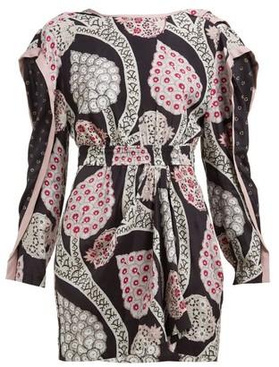 Isabel Marant Julia Floral-print Open-back Dress - Womens - Black Multi