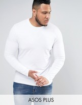 Asos PLUS Muscle Long Sleeve T-Shirt With Crew Neck In White
