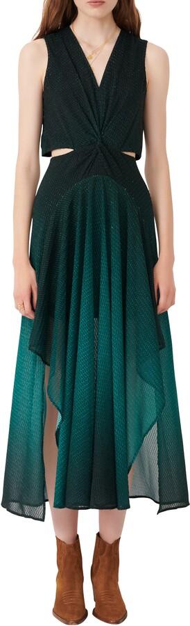 Maje Metallic Cutout Detail Sleeveless Dress