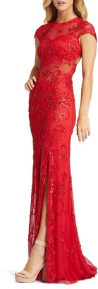 Mac Duggal Illusion Sequin Gown