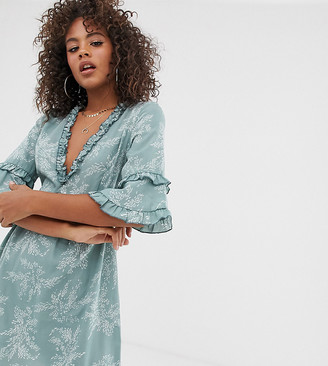 Parisian Tall ruffle detail smock dress in mini fern print