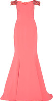 Badgley Mischka Off-the-shoulder embellished cady gown