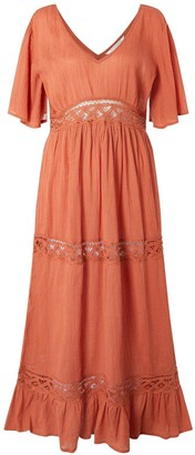 Accessorize Lace Insert Sleeved Maxi Dress - Brown