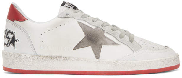 Golden Goose White and Red Crack Ball Star Sneakers