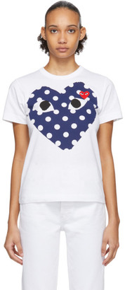 Comme des Garcons White and Navy Polka Dot Big Heart T-Shirt