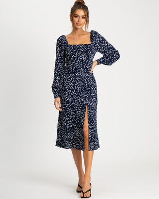 Savel - Women's Navy Party Dresses - Samira Midi Dress - Size One Size, 8 at The Iconic