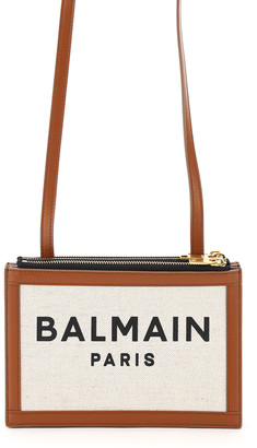 Balmain ZIPPED CANVAS POUCH WITH SHOULDER STRAP OS Beige, Brown Leather, Cotton, Linen