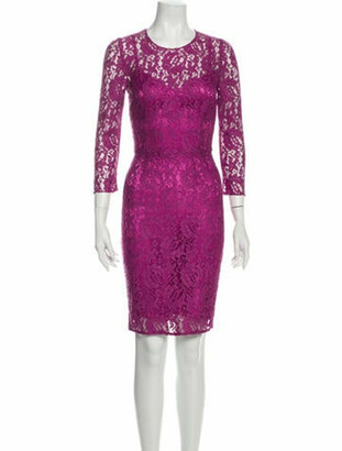 Dolce & Gabbana Lace Pattern Knee-Length Dress Purple