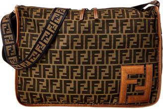 Fendi Brown Zucchino Canvas Messenger Bag