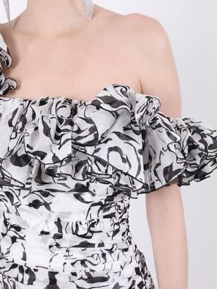 Black And White Ruffled Mini Dress
