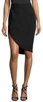 Halston Crepe Cut Away Pencil Skirt