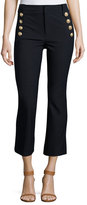 Derek Lam 10 Crosby Cropped Flare Trousers w/ Sailor Buttons, Midnight