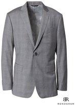 Banana Republic Slim Monogram Gray Plaid Italian Wool Suit Jacket
