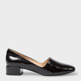 Paul Smith Women's Black Mock Croc Leather 'Tyne' Court Shoes