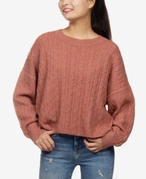 Hippie Rose Juniors' Cable-Knit Sweater