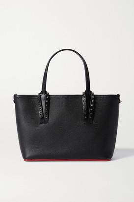 Christian Louboutin Cabata Mini Spiked Textured-leather Tote - Black