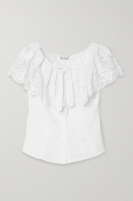 Miguelina Esther Crochet-trimmed Embroidered Linen Top - White