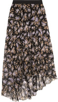 Zimmermann Asymmetric Tiered Printed Crinkled Silk-chiffon Skirt - Black