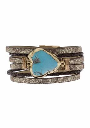 Saachi Braided Turquoise Leather Bracelet