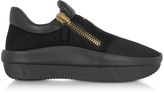 Giuseppe Zanotti Black Perforated Fabric and Suede Low Top Men's Sneakers