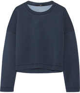 Tibi Cropped stretch-neoprene sweatshirt