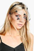boohoo Womens Faye Halloween Spider Veil Headband in Black size One Size