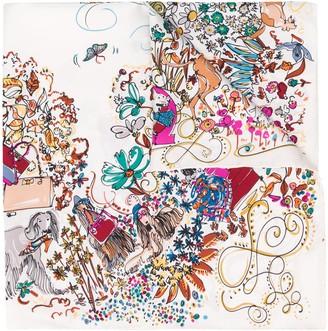 Salvatore Ferragamo Floral-Print Silk Scarf