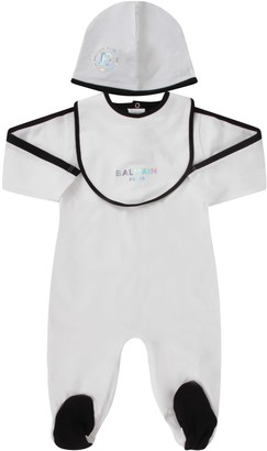 Balmain White Set With Iridescent Logo For Babykid