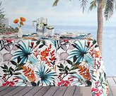 enVogue Indoor / Outdoor Fabric Tablecloth Colorful Tropical Floral Leaves Palms Pattern Red Orange Blue Green Beige Tan on White -- 60 Inches by 84 Inches