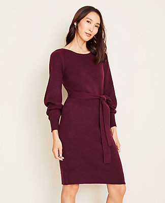 Ann Taylor Petite Boatneck Belted Sweater Dress