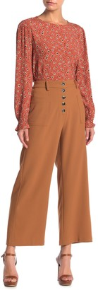 Elodie K High Waist Button Front Wide Leg Pants