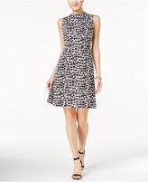 Nine West Mock Neck Houndstooth A-Line Dress