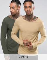 Asos Extreme Muscle Long Sleeve T-Shirt With Boat Neck 2 Pack
