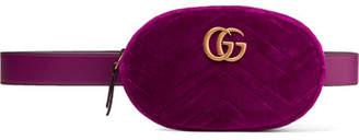 Gucci Gg Marmont Quilted Velvet Belt Bag - Plum