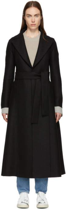 Harris Wharf London Black Pressed Wool Long Duster Coat