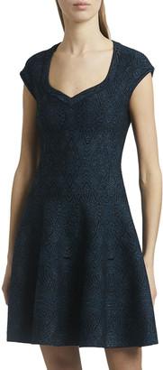 Alaia Sweetheart Cap-Sleeve Stretch Jacquard Mini Dress