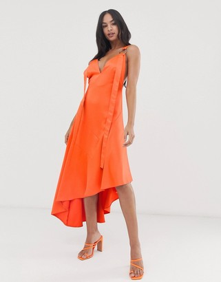 ASOS DESIGN minimal midaxi dress with satin panel and tab ring detail