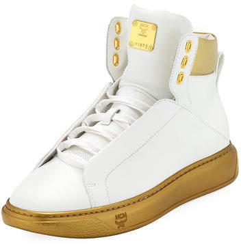 MCM Men's Visetos-Trim Leather High-Top Sneakers
