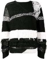 Ann Demeulemeester distressed stripe sweater - men - Silk/Cotton - M