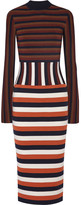 Victoria Beckham Striped Wool-blend Jersey Dress - Navy