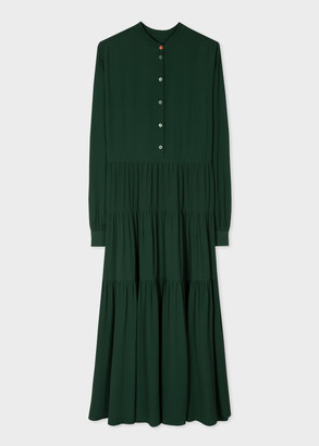 Paul Smith Women's Dark Green Silk-Blend Henley Dress