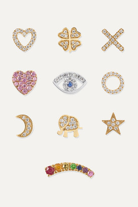 Loquet Send A Kiss 18-karat Yellow And White Gold Diamond And Sapphire Charms - Intuition
