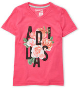 adidas Girls 7-16) Logo Roses V-Neck Tee