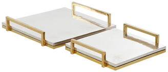 Venus Williams Eclectic Gold & Silver Aluminum Cast Tray - Set of 2