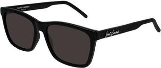 Saint Laurent Men's Square Solid Injection Sunglasses