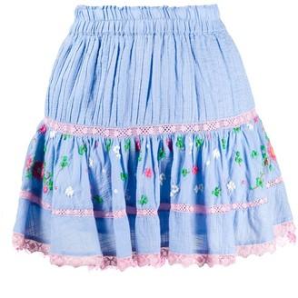 LoveShackFancy Jennings embroidered mini skirt